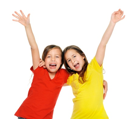 bff: cute adorable children having fun together with bright colorful t-shirts isolated on white background