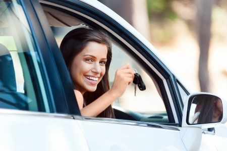 learner: happy learner driver young girl smiling portrait with car keys Stock Photo