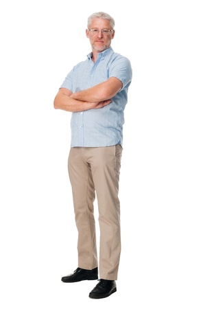 standing: full length mature man isolated on white background