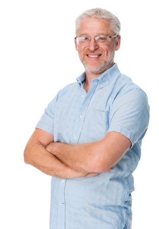 Happy mature man portrait isolated on white background photo