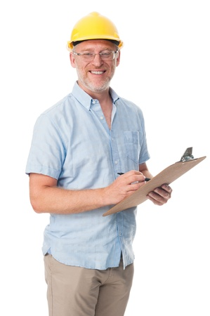 engineering clipboard: Mature contractor with hardhat and clipboard isolated on white background Stock Photo
