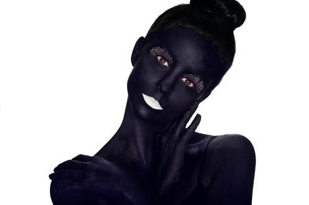 bodypaint: Bodypaint portrait of a beautiful model Stock Photo