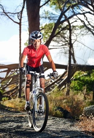 Mountain bike cyclist athlete in forest riding on rocks Stock Photo - 18911563