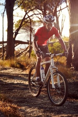 bicycle race: Mountain bike cyclist athlete in forest riding on rocks Stock Photo