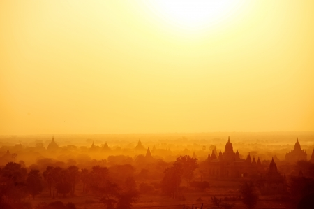 buddhist structures: Temples of Bagan Myanmar at sunrise