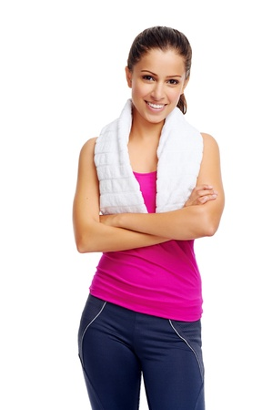 gym girl: cheerful confident young woman with towel after gym portrait Stock Photo