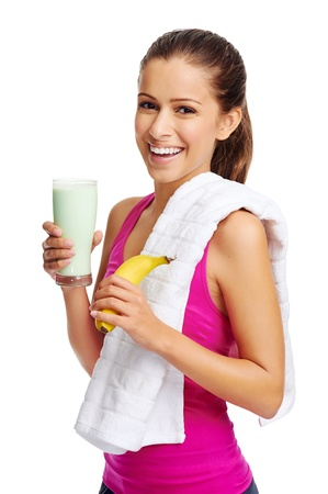 milk shake: woman with healthy diet protein shake drinking for sport and fitness