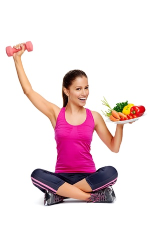 lose weight: healthy eating and exercise for weightloss diet concept