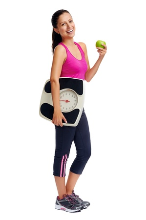 scale weight: healthy diet eating woman with scale and apple for weightloss