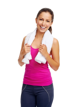 cheerful confident young woman with towel after gym portrait Stock Photo