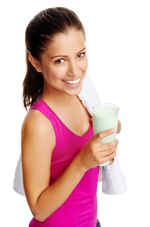 fruit shake: woman with healthy diet protein shake drinking for sport and fitness