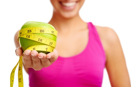 healthy diet concept woman with apple photo