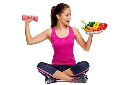 un'alimentazione sana ed esercizio fisico per il concetto di dieta di perdita di peso