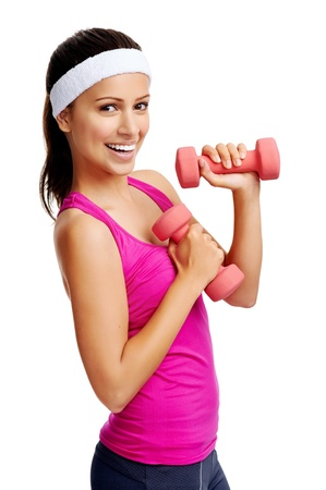 Woman working out with dumbbells happy and healthy lifestyle isolated on white background photo