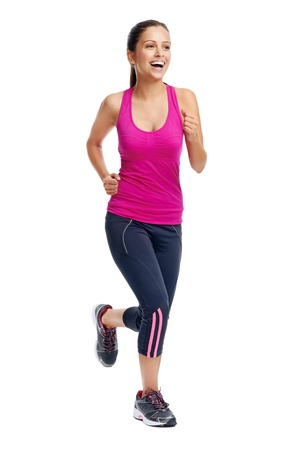 woman running isolated on white background, fitness healthy lifestyle concept photo