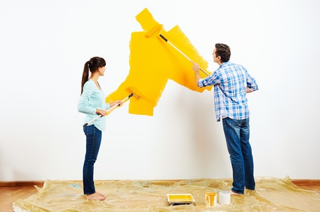 bright paintings: renovation diy paint couple in new home painting wall