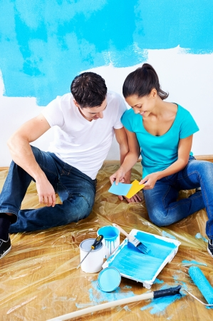 overhead view of couple having fun renovating their new home together with blue paint on a roller Stock Photo - 20761049