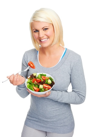 salad woman diet healthy eating happy and slim photo