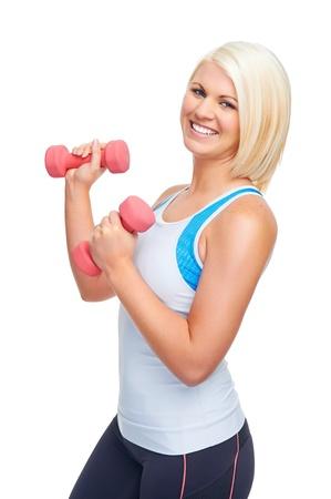 levantar pesas: adaptarse Entrenamiento de la mujer del deporte con pesas haciendo gimnasio para estilo de vida saludable