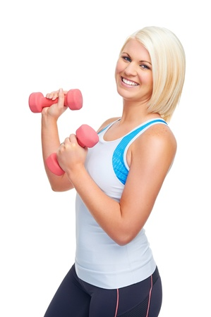 dumbells: fit workout sport woman with dumbbells doing gym for healthy lifestyle