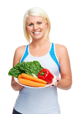 healthy diet vegetarian woman nutritious eating photo