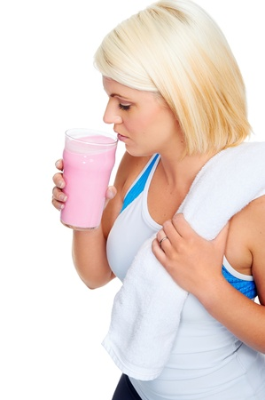 protein shake gym drinking woman strawberry flavor photo