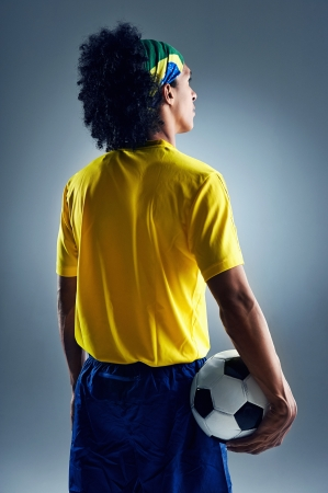 soccer world cup Brazil man standing ready to compete with ball Stock Photo - 20940679