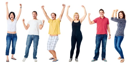 cheering people: celebrating diversity real people group isolated on white cheering Stock Photo