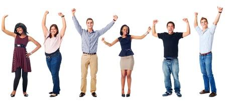 feest van de diversiteit echte groep mensen geïsoleerd op wit juichen Stockfoto