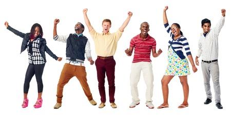 Feest van de diversiteit echte groep mensen geïsoleerd op wit juichen Stockfoto - 21858507
