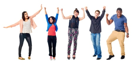 enthusiastic: celebrating diversity real people group isolated on white cheering Stock Photo