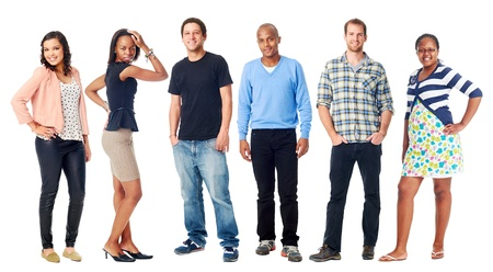 la gente: gruppo di persone reali diversit� casual isolato su sfondo bianco