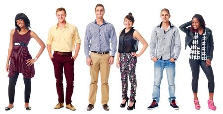 Grupo de personas reales diversidad casual aislado sobre fondo blanco Foto de archivo - 21858508
