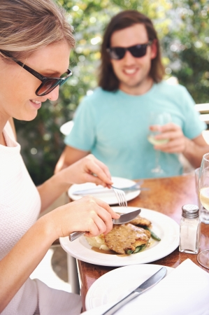Healthy restaurant lunch for vacation couple in summer photo