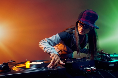 hiphop: Hiphop dj woman playing at nightclub party lifestyle