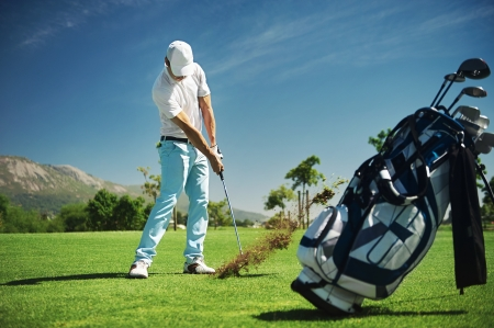golf bag: Golf shot on course in fairway Stock Photo