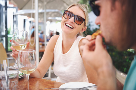 couple dining: Healthy restaurant lunch for vacation couple in summer