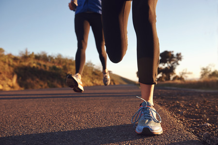 marathon running: fitness exercising couple training for marathon running lifestyle