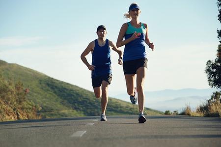 fitness exercising couple training for marathon running lifestyle Stock Photo - 29195267