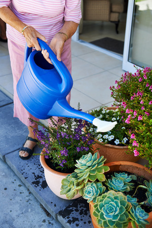 Cropped woman pensioner watering flowers plants photo