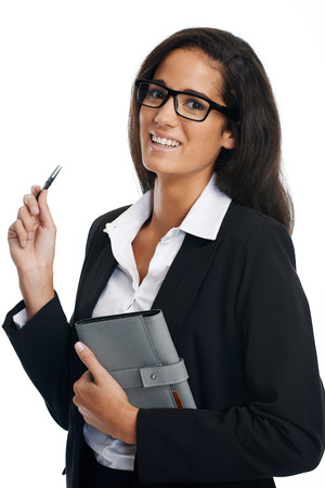 young worker woman with pen and notebook smiling and happy