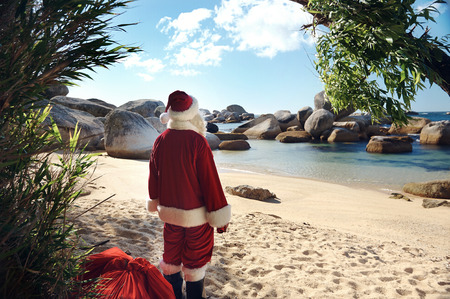christmas in july: Father Christmas standing on a tropical beach admiring the view