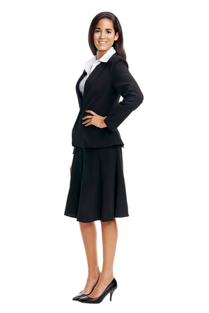 coporate: full length coporate businesswoman isolated on white