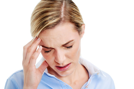 splitting headache: Young businesswoman has splitting headache pain migrain
