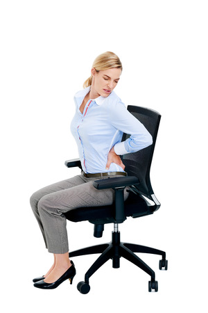lumbar spine: Back tension pain from office chair posture isolated on white background
