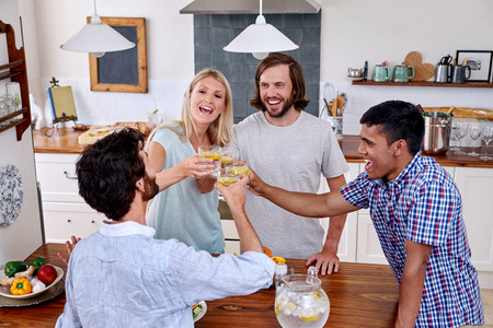 indoors: young cheerful friends toasting indoors at gathering