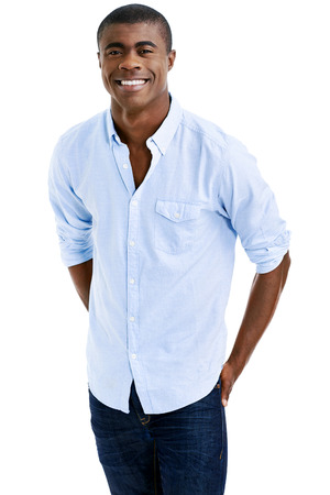 modern man: cheerful young black african man smiling with casual clothing Stock Photo
