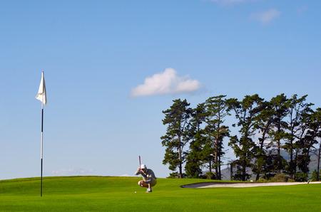 lining: aiming golfer lining up putt on green