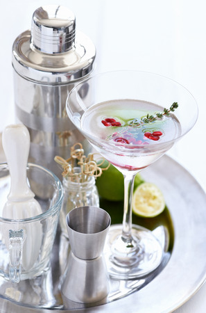 martini shaker: Silver tray holding a martini with pomegranate seeds and thyme sprig and cocktail making equipment tools Stock Photo