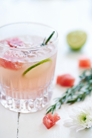 arrangment: Two glasses with a pastel girly pink cocktail mocktail drink inside decorated with lime slices,watermelon and rosemary Stock Photo